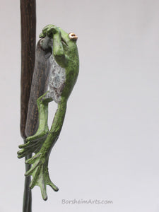 Profile view tabletop aquatic bronze sculpture, Cattails and Frog Legs Lily Pad Green Art