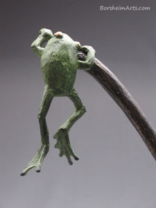 detail back of hanging frog tabletop aquatic bronze sculpture, Cattails and Frog Legs Lily Pad Green Art