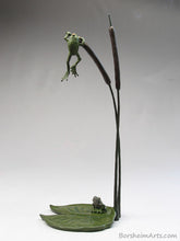 Load image into Gallery viewer, tabletop aquatic bronze sculpture, Cattails and Frog Legs Lily Pad Green Art