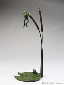 tabletop aquatic bronze sculpture, Cattails and Frog Legs Lily Pad Green Art