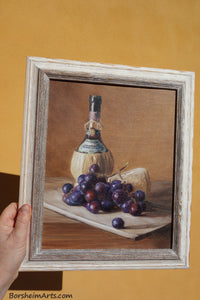 Against Tuscan Yellow Wall Chianti Wine, Cheese, and Grapes Still Life Oil Painting