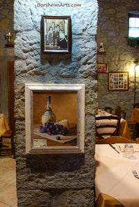 On exhibit in Tuscan Restaurant Chianti Wine, Cheese, and Grapes Still Life Oil Painting