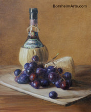 Load image into Gallery viewer, Chianti Wine, Cheese, and Grapes Still Life Oil Painting