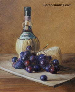 Chianti Wine, Cheese, and Grapes Still Life Oil Painting