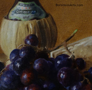 Detail Chianti Wine, Cheese, and Grapes Still Life Oil Painting