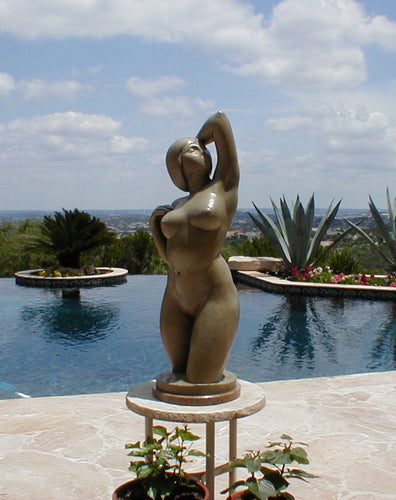 Gemini Bronze Garden Sculpture Voluptuous Abstract Figure Statue with Two Faces