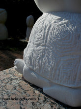 Load image into Gallery viewer, Detail of one Sea Tutle Head Garden Statue Gymnast Pike Position on Four Headed Turtle Fantasy Figure Statue Marble
