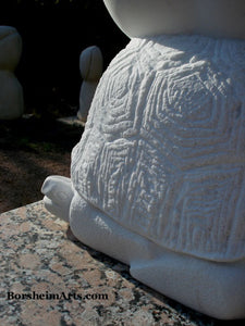 Detail of one Sea Tutle Head Garden Statue Gymnast Pike Position on Four Headed Turtle Fantasy Figure Statue Marble