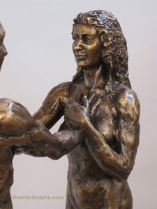 Detail Woman's Face and upper body I am You Standing Couple Bronze Instant Connection