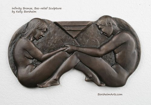 Infinity bronze bas-relief sculpture made for 8th wedding anniversary gift Bronze tradition