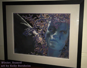 Framed with two mats, one if thin PURPLE inner mat, the other white,Winter Blue Woman Wing Pastel Painting