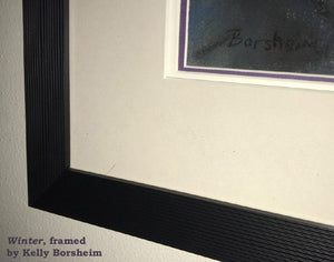 Black ridged frame detail also showing purple inner mat behind the glass Winter Blue Woman Wing Pastel Painting