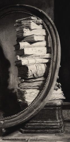 Library of Dreams Tower of Old Weathered Book Black and White Original Charcoal Drawing