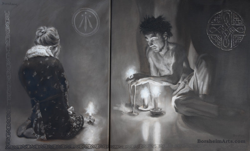 Luminosity Diptych of Woman and Man with Candlelight and Celtic Symbols Awen Firelight Shadows Prayer