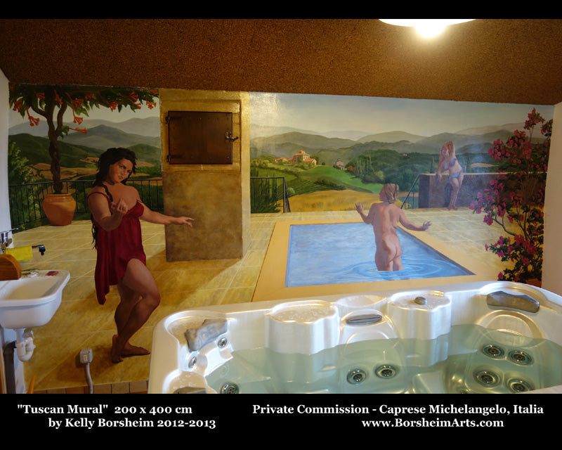 Mural of three women around a pool on a terrace with flowers and view of Tuscan landscape, Italy