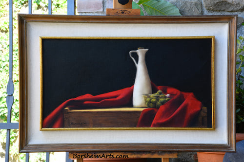 Olives and Oil ~ Still Life with Red Fabric Framed