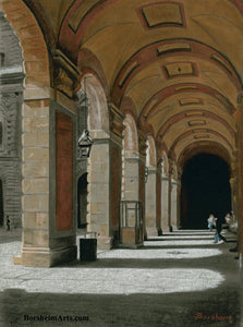 Palazzo Pitti - Firenze, Italia ~ Original Pastel & Charcoal Drawing Repeating Arches in perspective