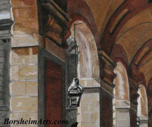 Detail of Repeating Arches Italian architecture Palazzo Pitti - Firenze, Italia ~ Original Pastel & Charcoal Drawing