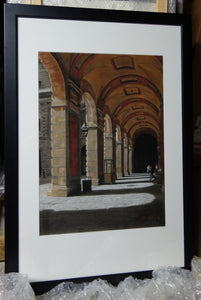 Framed and Ready to Hang Palazzo Pitti - Firenze, Italia ~ Original Pastel & Charcoal Drawing Italian architecture