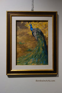 framed painting of gorgeous male peacock walking in front of some bright yellow autumn leaves