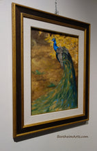 Load image into Gallery viewer, framed painting of gorgeous male peacock walking in front of some bright yellow autumn leaves