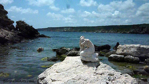 Sirena Mermaid Stone Carving Black Sea Art Symposium Rusalka Kavarna Bulgaria 2014