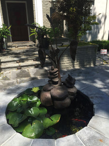 Rock Towers and Frogs Bronze Outdoor Garden Sculpture in Private Collection California