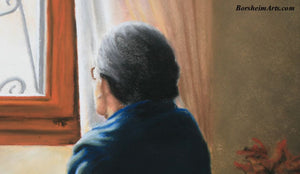 Detail of Head Songbird Old Woman Listening Pastel Figure Painting Sitting up in Bed Home