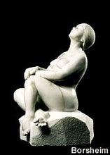 Load image into Gallery viewer, Stargazer Garden Marble Sculpture of seated Woman resting hands on a knee while leaning back to look up to the skies and stars.