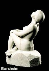 Stargazer Garden Marble Sculpture of seated Woman resting hands on a knee while leaning back to look up to the skies and stars.