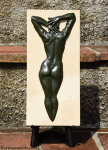 Green Patina Ten Female Nude Back Hands Small Bronze Sculpture Stone Base Easel Sold Separately