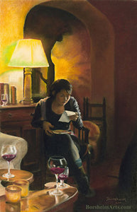 The Letter Woman Reading Letter Pastel Figure Painting Reading a Letter during a party
