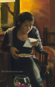 Detail of Woman reading letter Tuscan Yellow Home Interior The Letter Woman Reading Letter Pastel Figure Painting