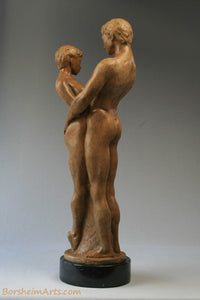 Together and Alone Bronze Sculpture of Man Woman Couple
