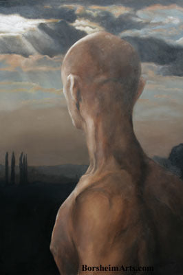 Towards Siena Male Nude Figure Tuscan Landscape and Sky