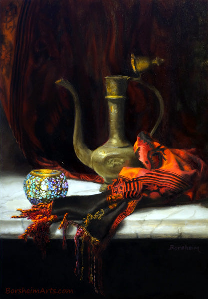 Turkish Light Still Life Painting Red Drapery Inspired by Istanbul Glass