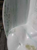 Load image into Gallery viewer, Detail Green veins in White Yule Marble Yin Yang Erotic Sculpture