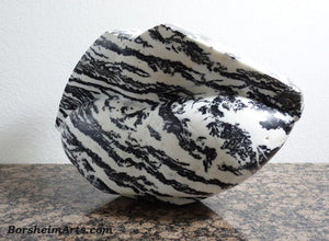 Pouty Lips Zebra Lips Black and White Marble Sculpture