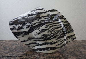 Zebra Lips Black and White Marble Sculpture