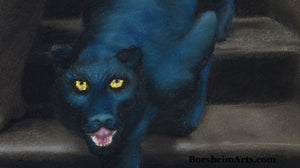 Detail Blue Panther Le Scale dell'Eros [The Stairs of Love] Woman and Blue Panther Laws of Attraction - ORIGINAL Pastel Art