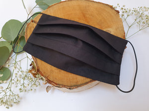 Pleated Reusable Face Mask Black