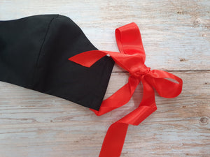 Handmade Reusable Face Mask Black with Bow
