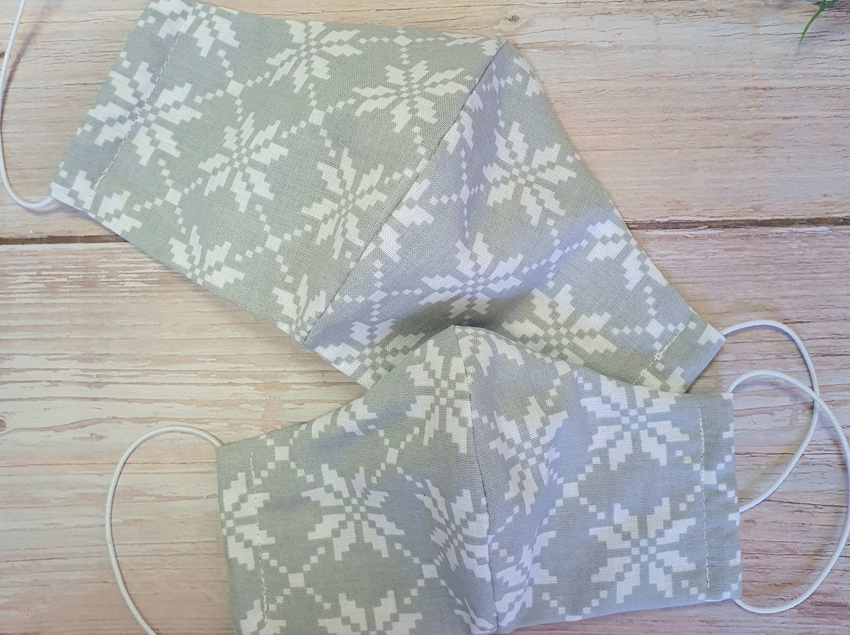 Handmade Reusable Face Mask Gray Pattern