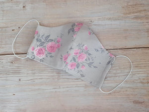 Handmade Reusable Face Mask Gray with roses
