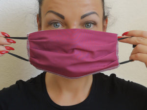 Pleated Handmade Reusable Face Mask Vine colour With a Filter Pocket and Nose Wire