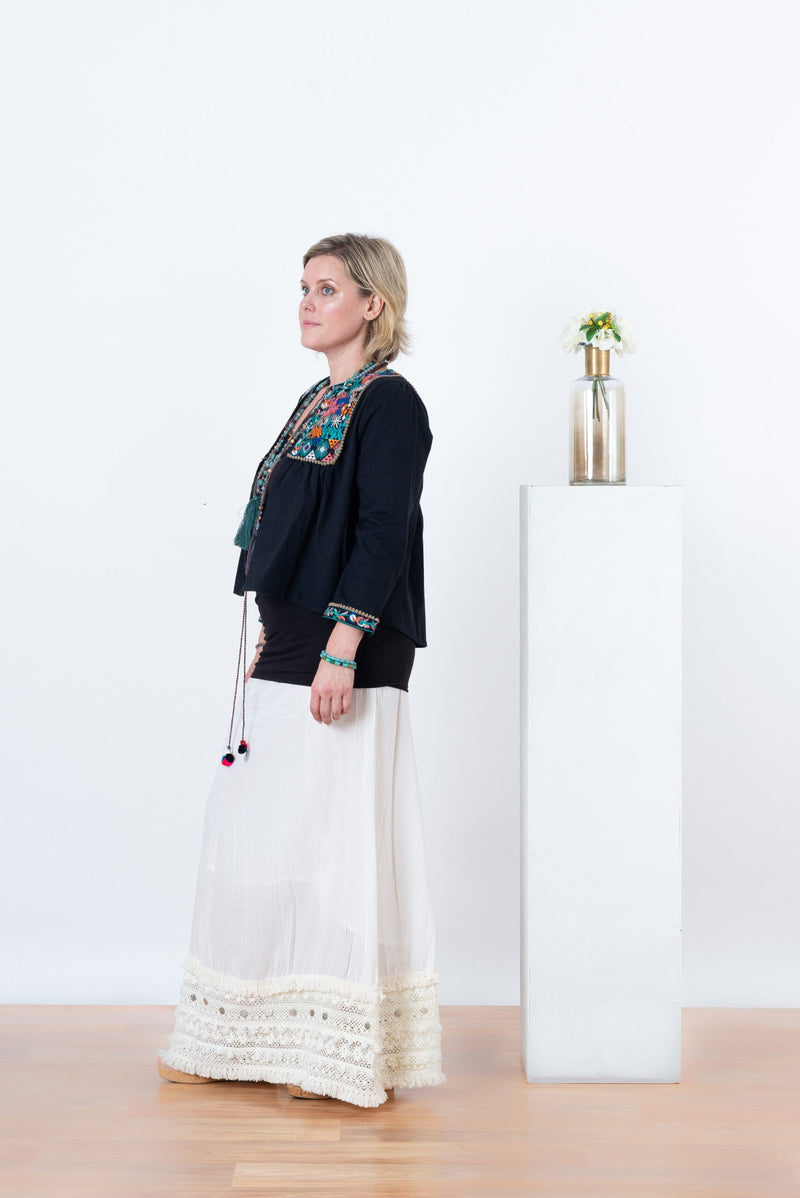 Gypsy Coin Long Skirt white