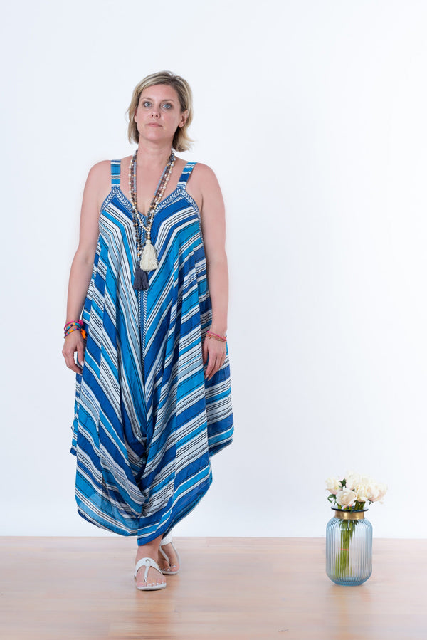 Ananda Jumpsuit - Blue pin stripe