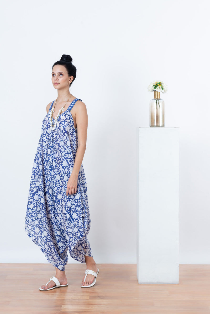 Ananda Jumpsuit - Blue and White Flower