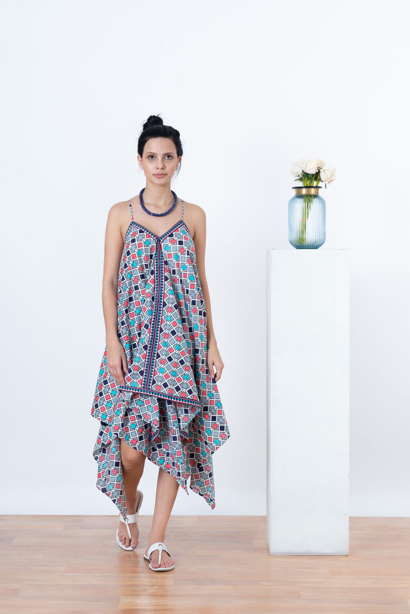 Sienna Dress - Blue Aztec