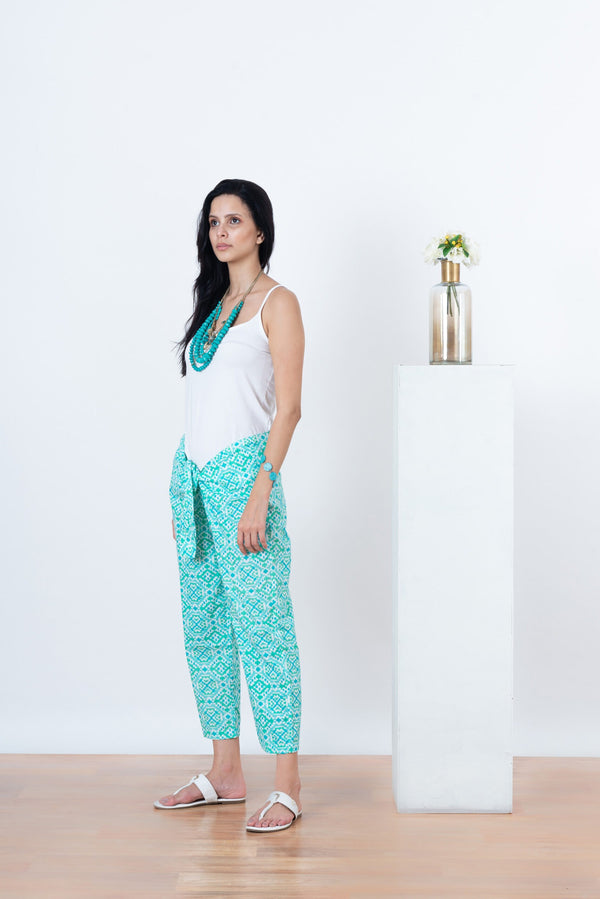 Cleo Pants - Aqua Diamonds